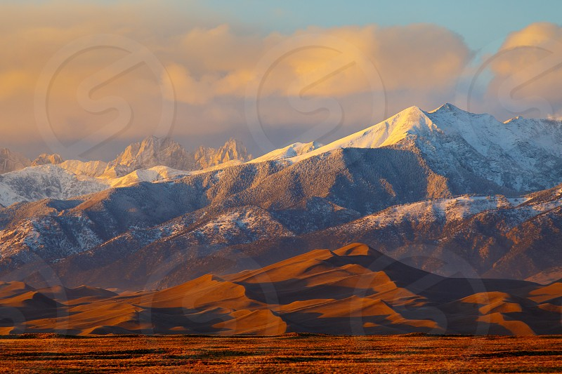 cloudless; clouds; colorado; fog dunes; great sand dunes national park; Great Sand Dunes National Park and Preserve; San Luis valley; alamosa; snow;  photo