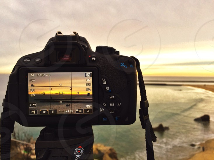 Live View on my camera taking a shot of the sunset photo