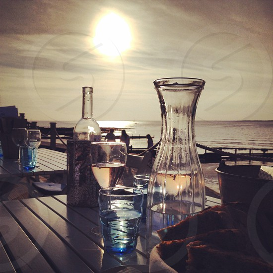 Sunset beach Isle of Wight dinner drinks wine beautiful picturesque  photo