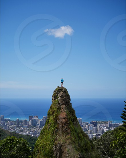 Honolulu Hawaii Oahu island sharp peak above the city photo