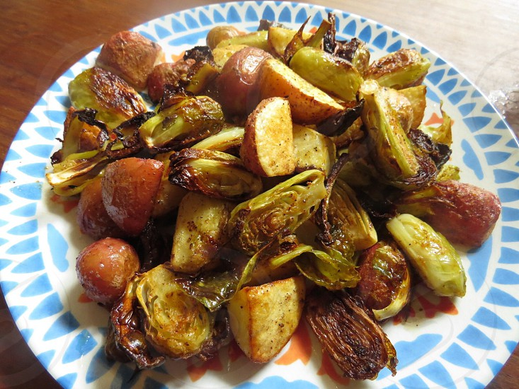 Healthy roasted vegetables Brussel Sprouts  potatoes organic  photo