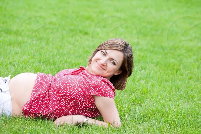 Cute pregnant women girl sweet rest summer happy smile #maternity #life #newborn  photo