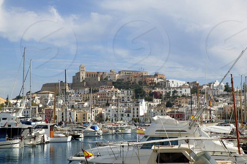 Ibiza from balearic islands in Spain. Mediterranean touristic vacation town photo