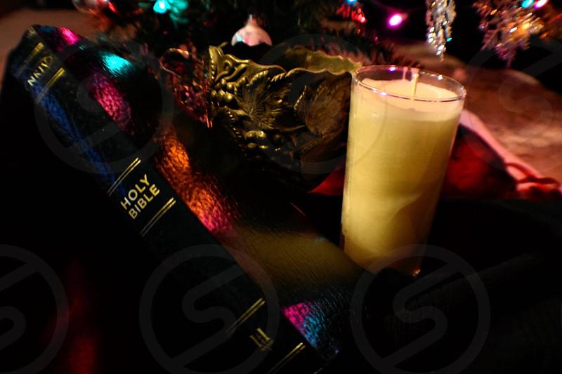 Bible candle Christmas Christmas tree Christmas lights Christian photo