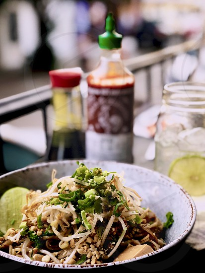 Pad Thai - Asian street food fried noodle dish from Thailand photo