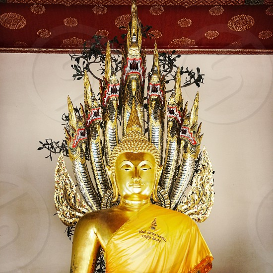 Indoor day colour square filter Wat Pho Temple Bangkok Thailand Thai Asia Kingdom east eastern gold golden Buddha deity sculpture statue worship shiny travel tourist tourism wanderlust holy spiritual spirituality decorative ornate embellished art photo