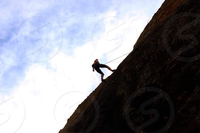 Climb rock woman workout exercise Sky California outdoors outside nature active photo