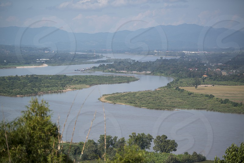 the landscape of the mekong river at the town of Chiang khong the north of the provinz Chiang Rai in North Thailand. photo