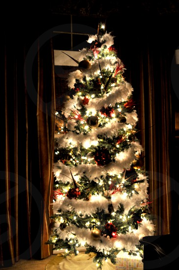 Glowing decorated Christmas tree photo