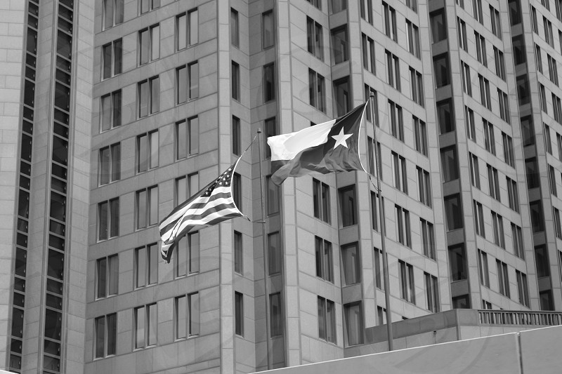 Black and white photo of the American and Texas flag flying proudly side by side in front of a skyscraper and its many windows. photo