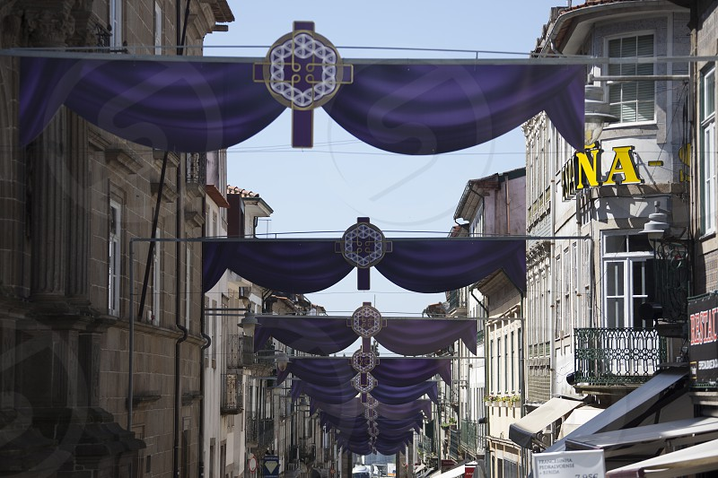 Purple decoration on a Portugal City for a religious easter festival photo