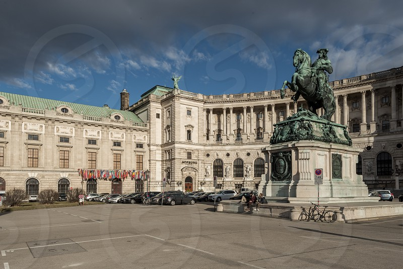 Heldenplatz (Heroes' Square) with Prinz Eugen Reiterstatue. InnerCity Vienna Austria photo