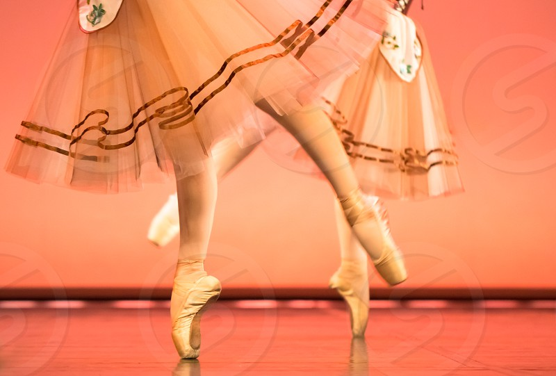 Classical Ballet Dancers Feet In Pointe Shoes photo