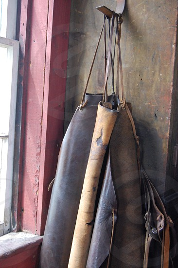 leather aprons black smith old world sunlight neutral photo
