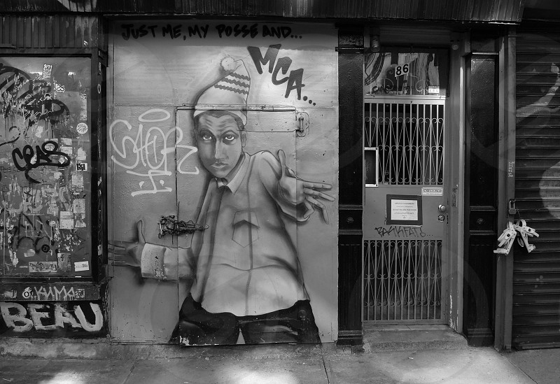 black and white graffiti of a man photo