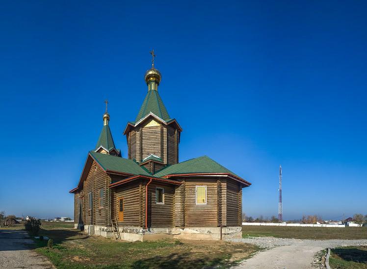 Odessa Ukraine - 11.10.2018. Unfinished and abandoned wooden church in Aleksandrovka village Ukraine photo
