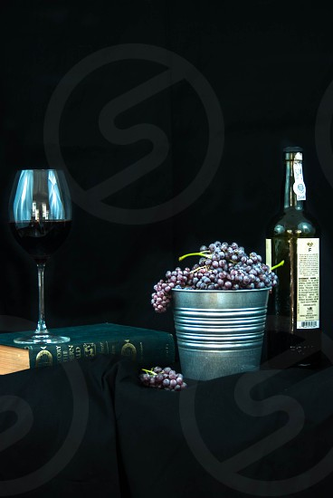 Grapes Wine Port and Old World Book on Black Background photo
