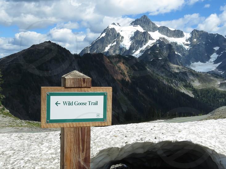 Mt Baker Washington State USA mountains snow hiking trail Wild Goose Chase Trail sign glacier landscape view destination photo