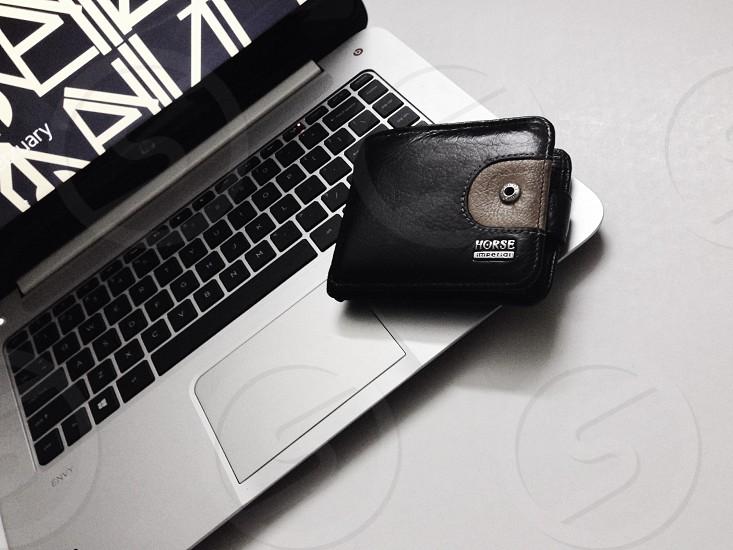 silver hp laptop photo
