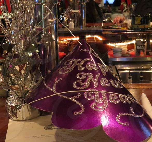 New Years Eve celebrate party hats bar photo