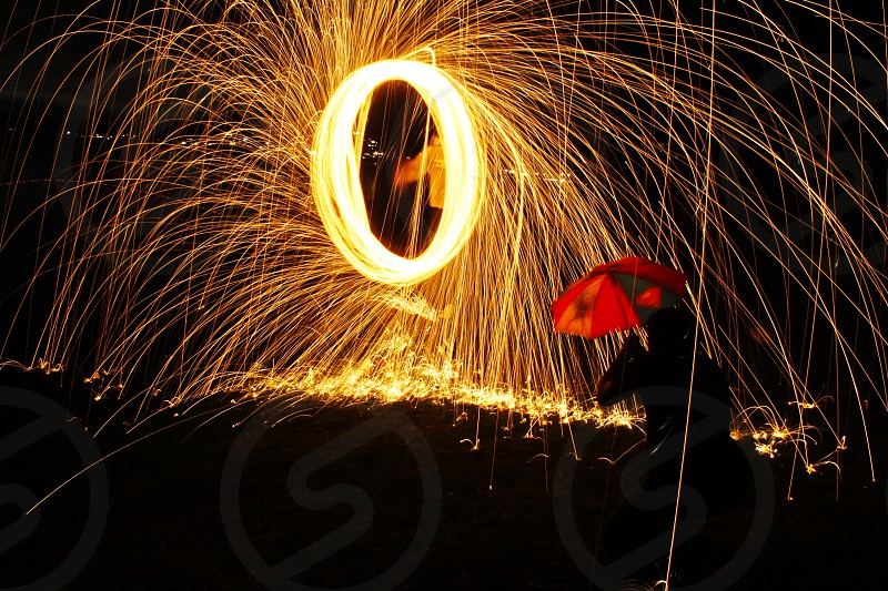 Fire spin wool iron umbrella red ring help fun photo