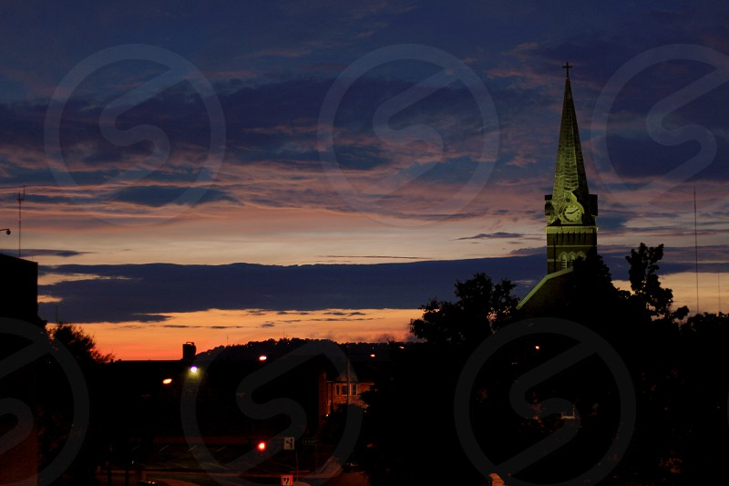 Downtown Knoxville TN church during sunset photo
