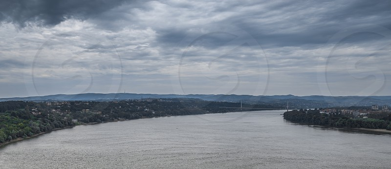 Panoramic View of the  Petrovaradin Fortress in Novi Sad Serbia in a cloudy summer day photo