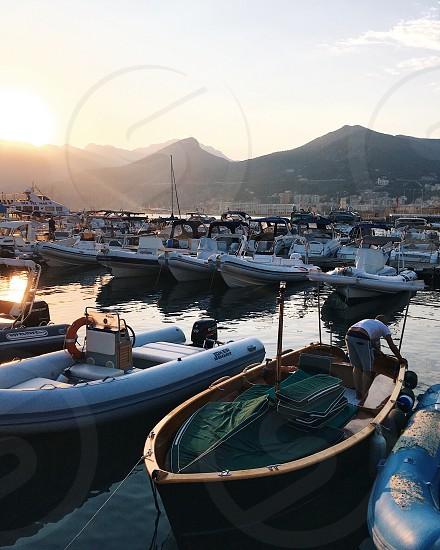 Boat port in Salerno Italy. photo