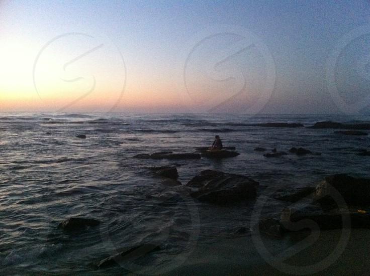 Sunset California ocean la Jolla beach silhouette photo