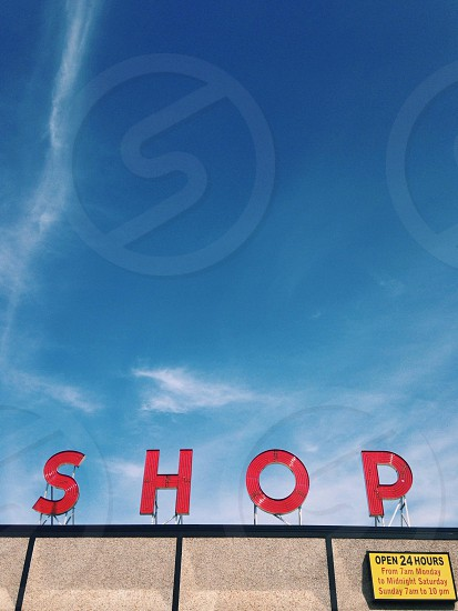 shop neon signs typography shopping  photo