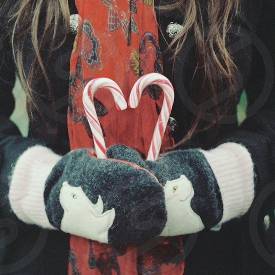 candy cane sweet candy christmas mint candy cane red red scarf black coat young woman holding food cat mittens cold weather winter photo