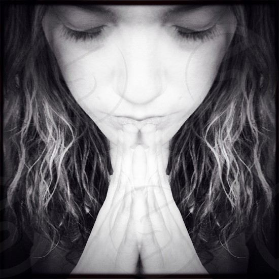 woman girl pray face hope black and white portrait photo