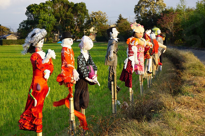 Colourful  Japanese scarecrows  in a green field in Kyoto photo