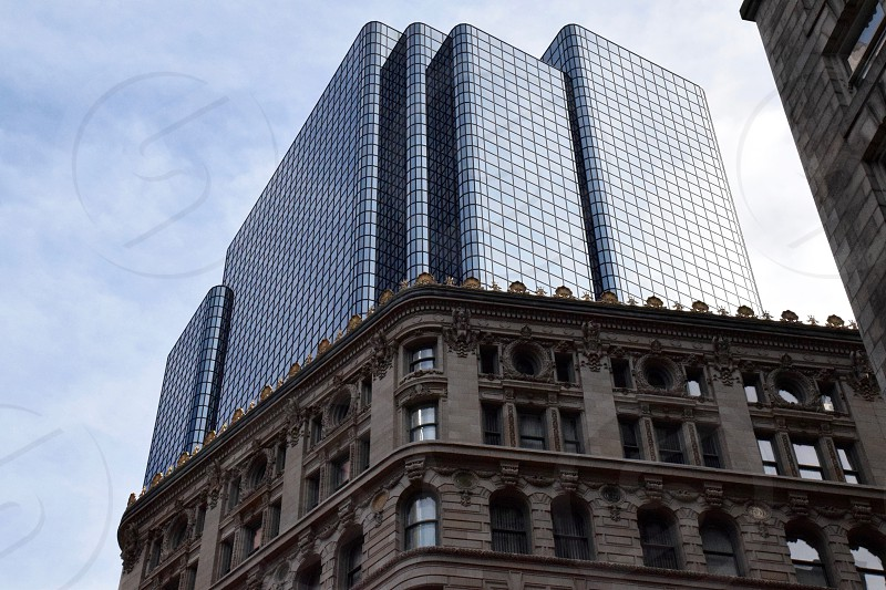 boston city skyscraper new old photo