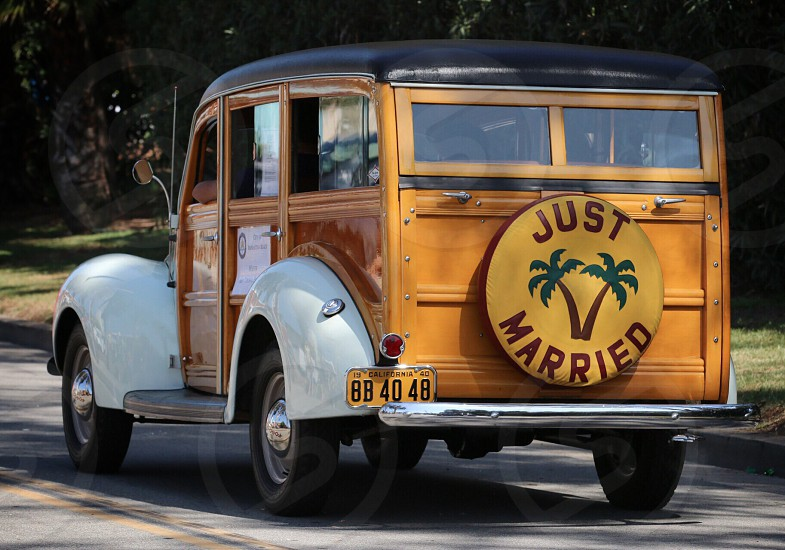 "Just Married - 1940 ""Woodie"" automobile photo"