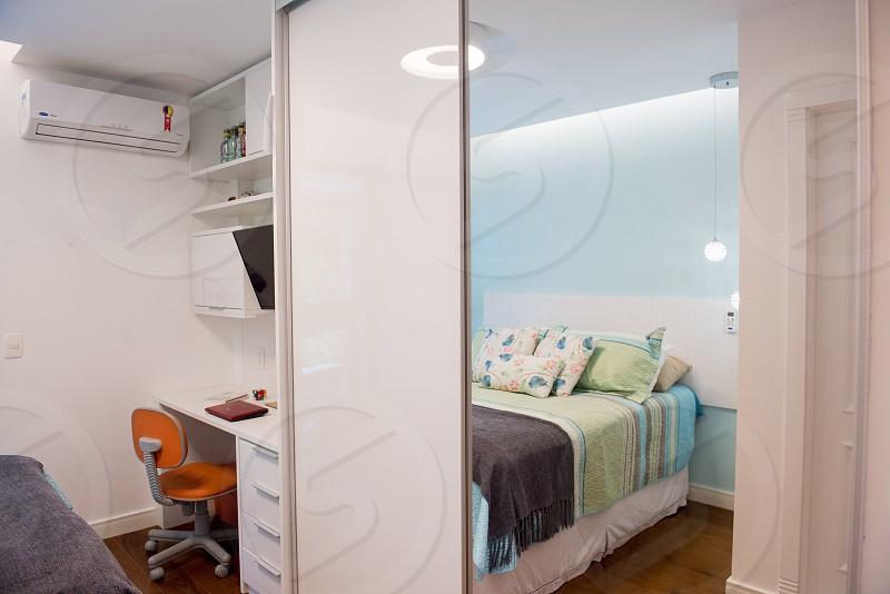 Teenage bedroom modern bedroom.    photo