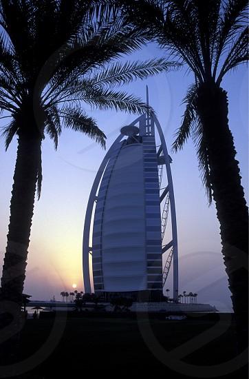 the hotel Burj al Arab in the city of Dubai in the Arab Emirates in the Gulf of Arabia. photo