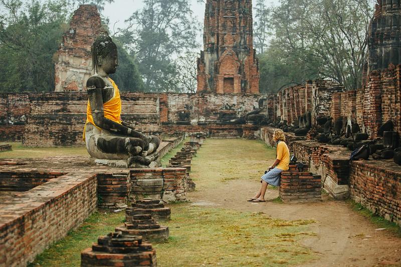 Historical park in Ayuthaya city Thailand photo