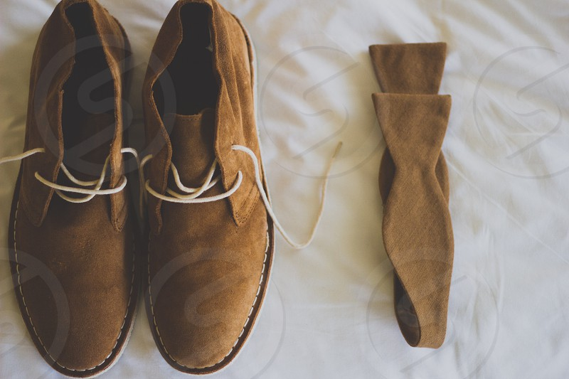 brown leather lace up shoes  photo