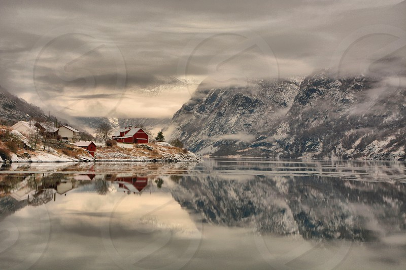 Winter fjord Norway photo