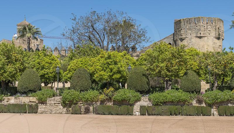 garden and old architecture in cordoba near the alcazart and mezdina photo
