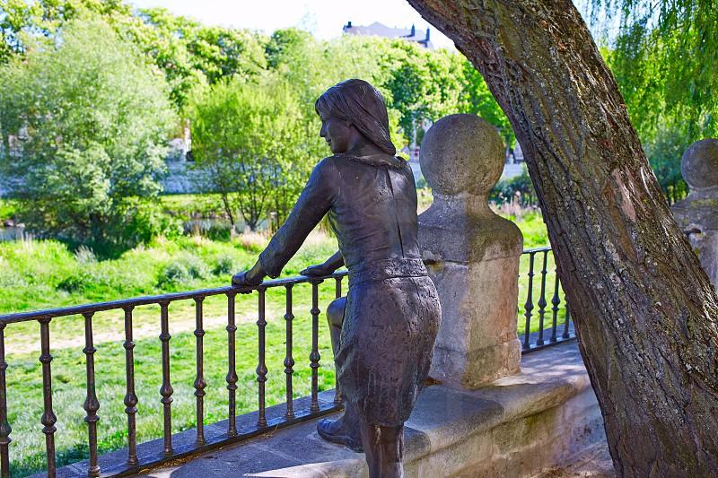 Burgos paseo espolon park woman statue in Castilla Spain photo