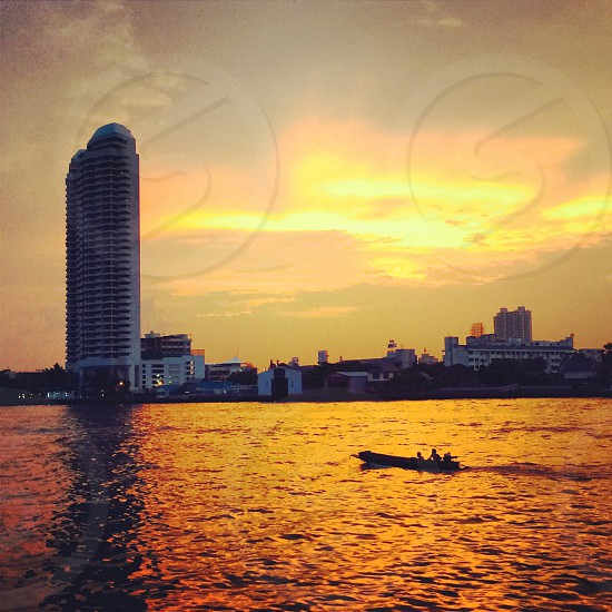 Sunset at Chaopraya river Bangkok Thailand photo