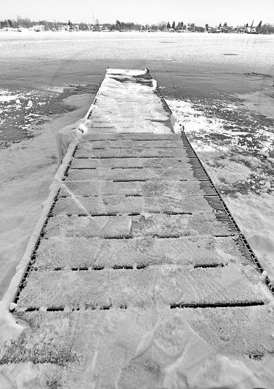Frozen bridgelake SnagovRomania photo