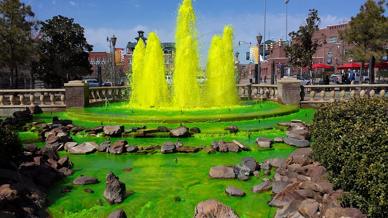 Green fountain for St Patrick's Day in Oklahoma City photo