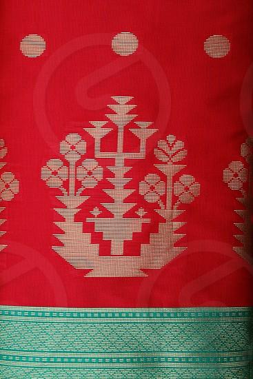 Designer sari silk fabric textiles red gold border green photo