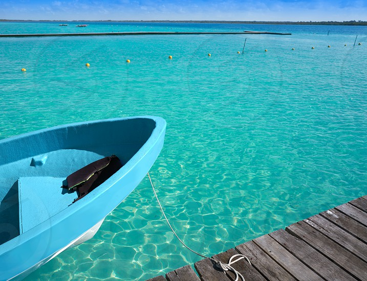 Laguna de Bacalar Lagoon pier in Mayan Mexico at Quintana roo photo