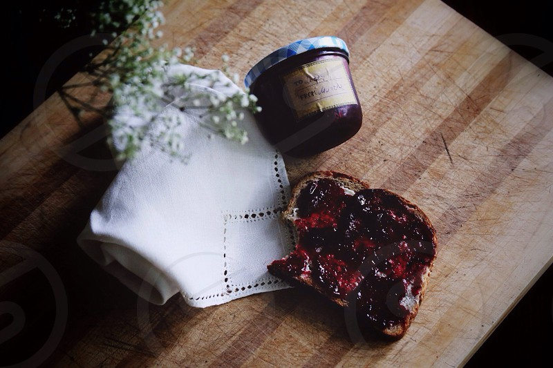 brown bread with jam spead photo