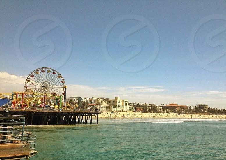 ferris wheel near beachfront photo