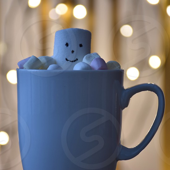 Closeup of coffee cup with marshmallows and Christmas lights photo